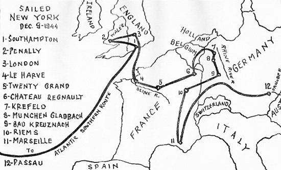 Illustrated map showing the route of the 125th Evacuation Hospital through Europe..jpg