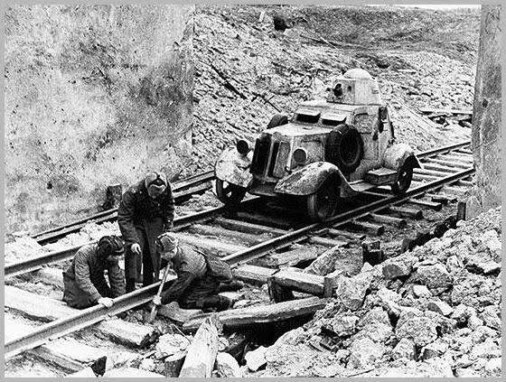 1943 Russian military engineers repair a rail track destroyed by the Germans.jpg