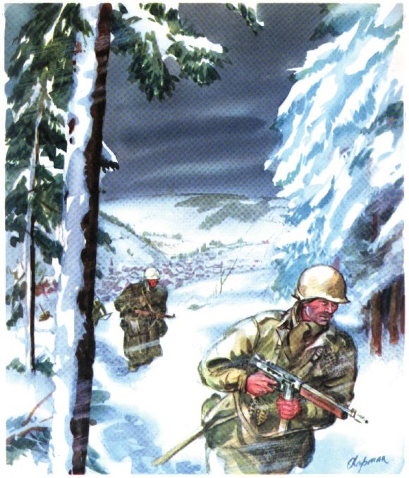 US - GI under snow - Ardenne - 84th Inf Div - Battle of Germany.JPG