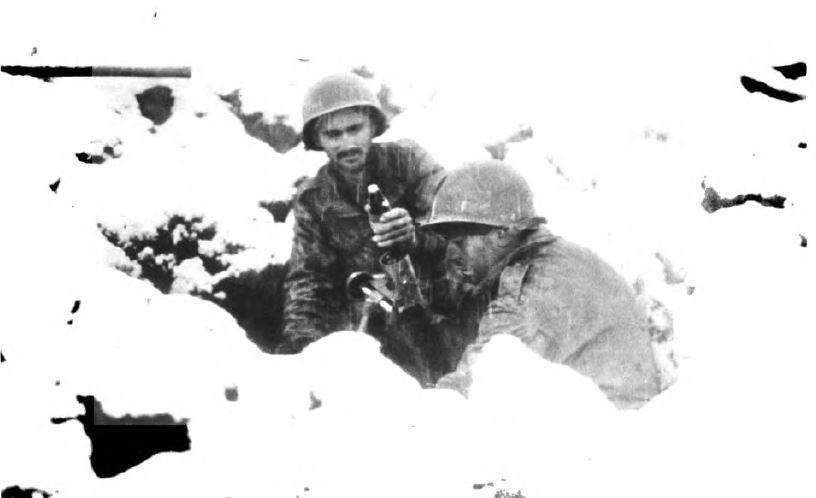 US - Mortar under snow - Battle of the Bulge - 84th Inf Div - Battle of Germany.JPG