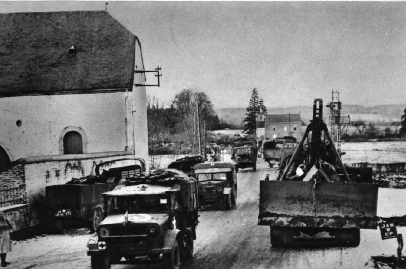 US - Convoy crossing Marche - Battle of the Bulge - 84th Inf Div - Battle of Germany.JPG