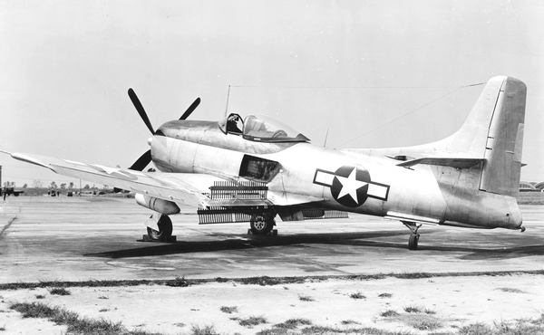 US xplane Kaiser-Fleetwings XBTK-1 BuNo 44313 with upper and lower dive brakes deployed along with the center fuselage landing flap - to be used on escort carrier.jpg