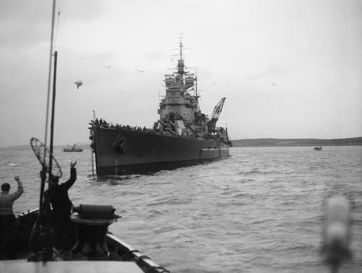 DUKE OF YORK 1943 12 26   at Scapa Flow after the sinking of the German warship, the SCHARNHORST.jpg