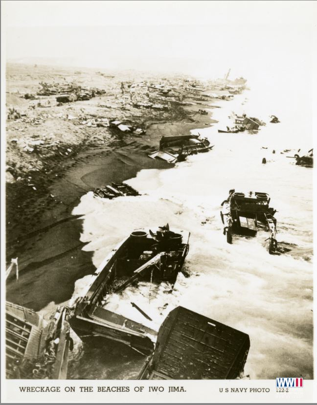 Wreckage on the beaches of Iwo Jima. US Navy Photo 122-2. Iwo Jima. February 1945 (ww2online.org).JPG