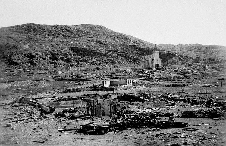 The white wooden church in Honningsvag was the only building to survive the scorched earth burning of the town. .jpg