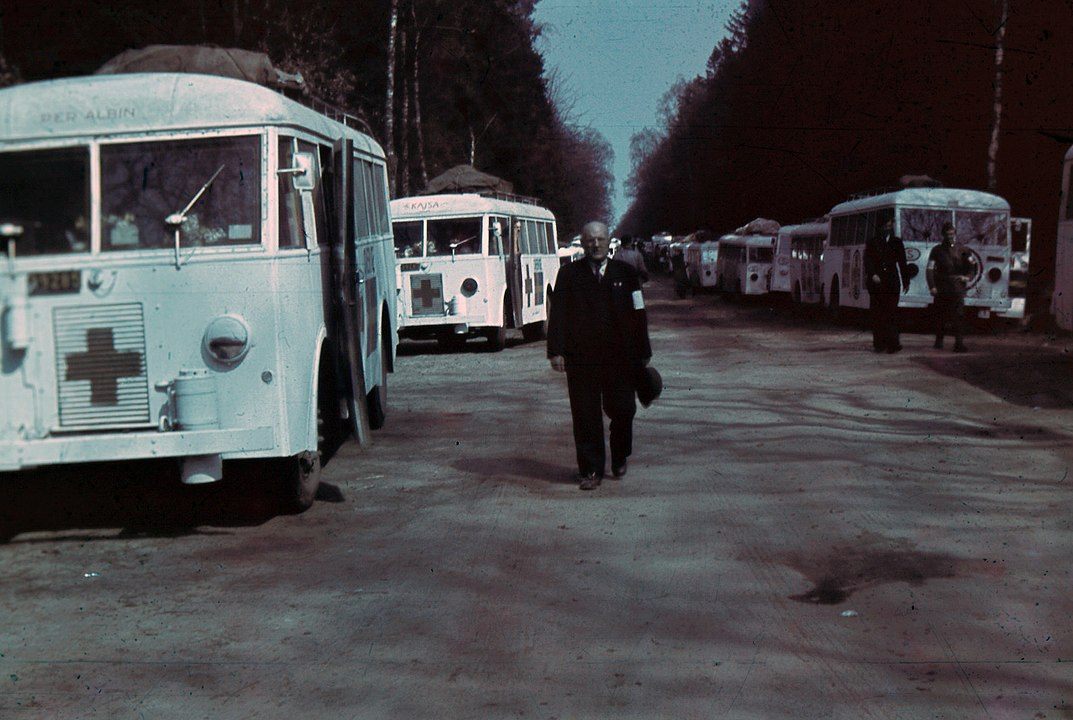 Swedish white buses gathered in their field headquarters at Friedrichsruh..png