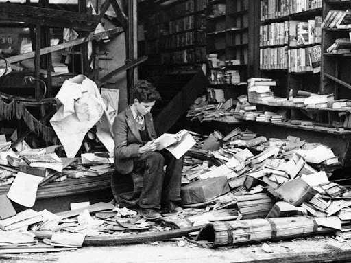 London bookshop after German bombing, 1940..jpg