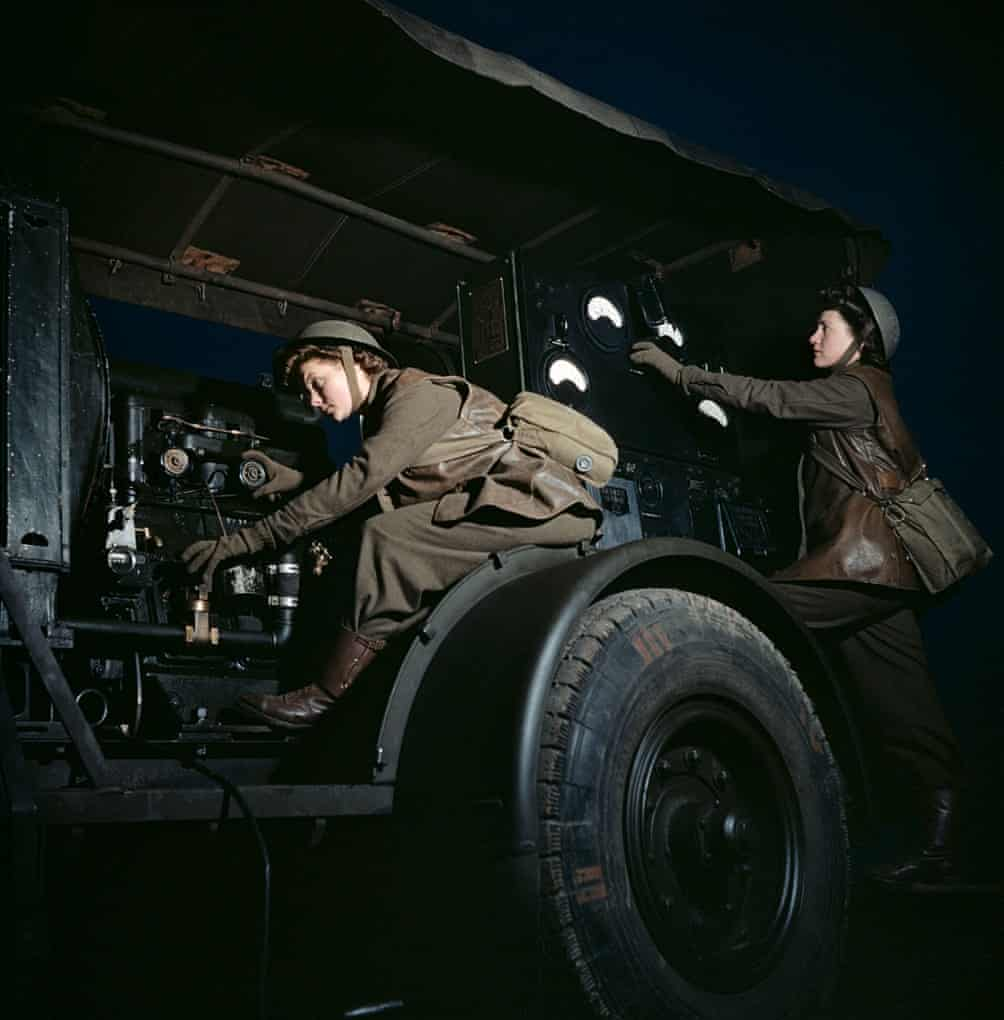 'ATS girls' operate a mobile power plant on an anti-aircraft gun site at night.jpeg
