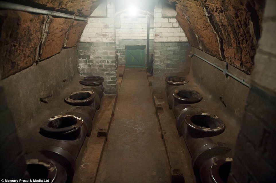 The women's toilets, equipped with a proper flush, located deep inside the Stockport air raid shelter.jpg