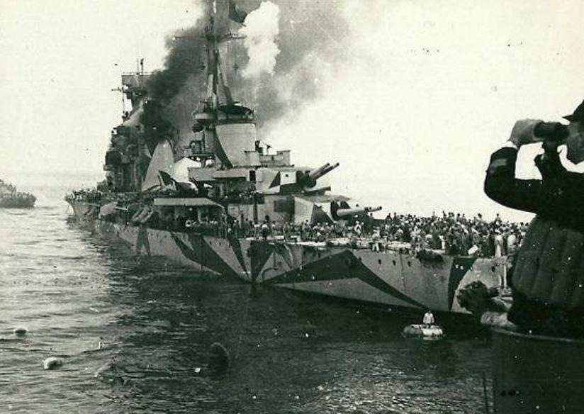 The Italian heavy cruiser Bolzano shortly after being torpedoed by HMS Unbroken on 12 August 1942, during Operation Pedestal.jpg