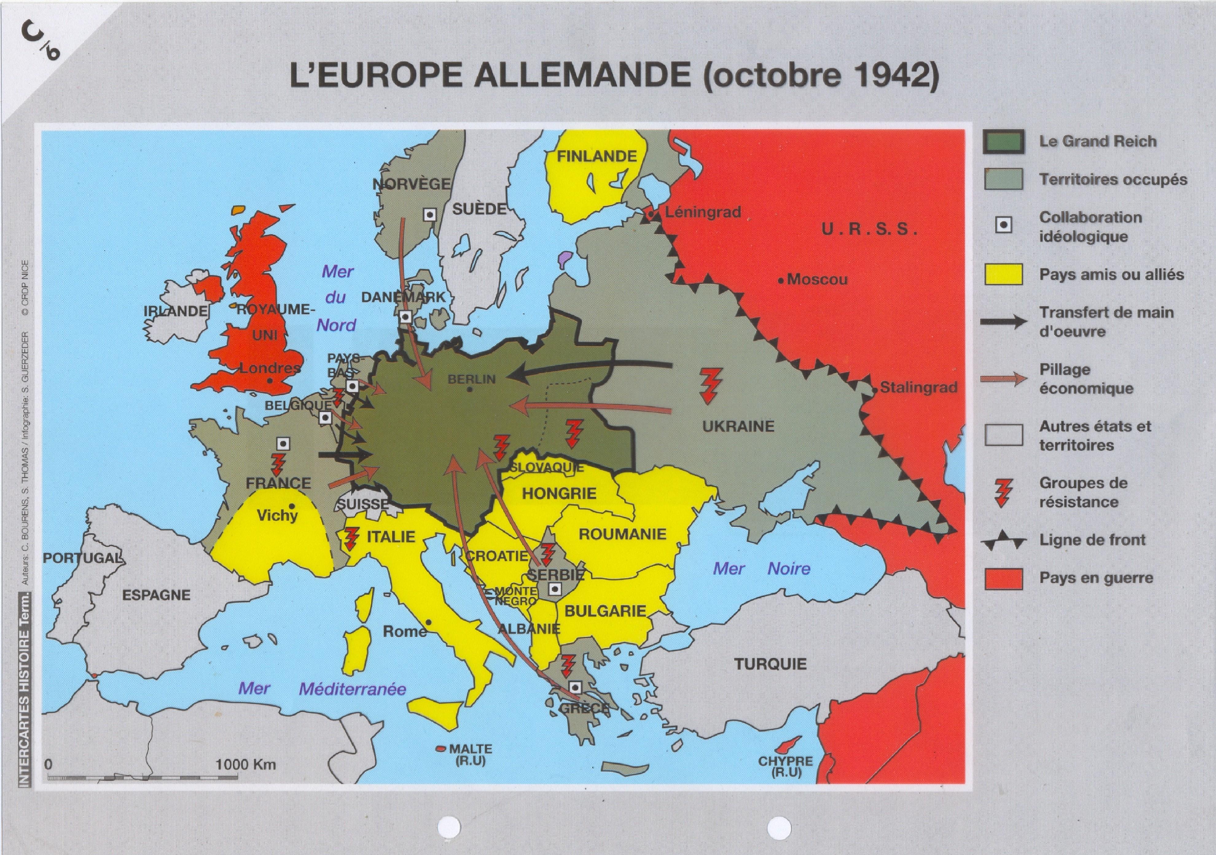 carte europe occupee